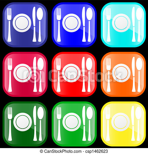 Icon of flatware on buttons - csp1462623