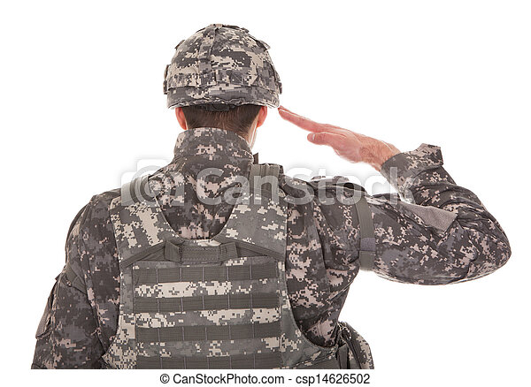 Portrait Of Man In Military Uniform Saluting - csp14626502
