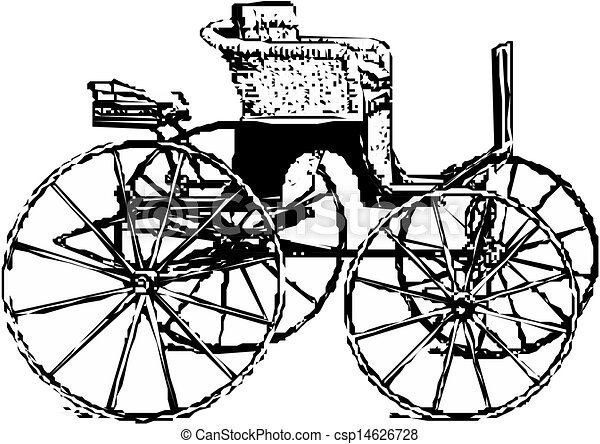 Horse And Carriage Drawing Horse Carriage Vector