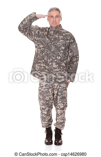 Mature Military Soldier Saluting - csp14626980