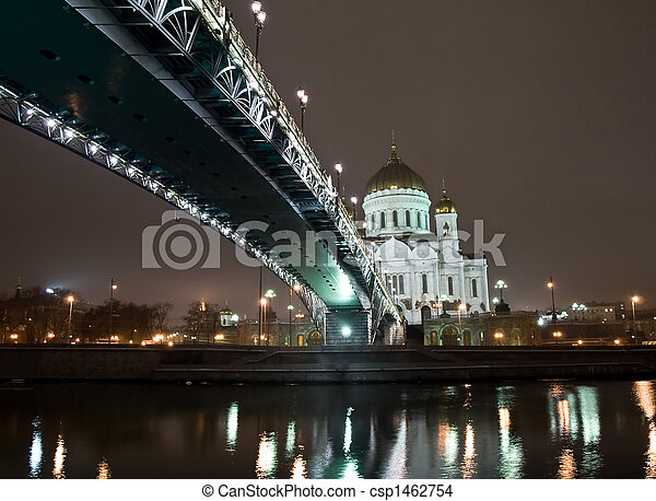 Christ the Saviour Cathedral in Moscow night view with bridge - csp1462754
