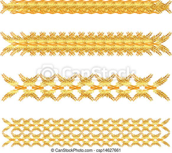 Clip Art Vector of gold floral border - set of gold floral border ...