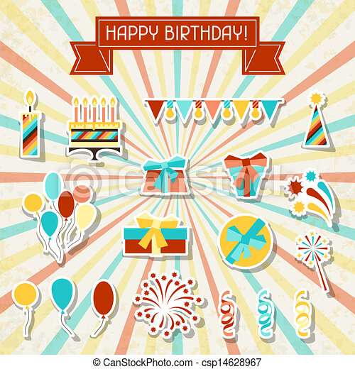 Happy Birthday party sticker icons set. - csp14628967