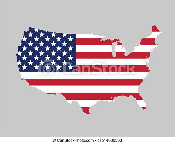 USA flag map - csp14630563