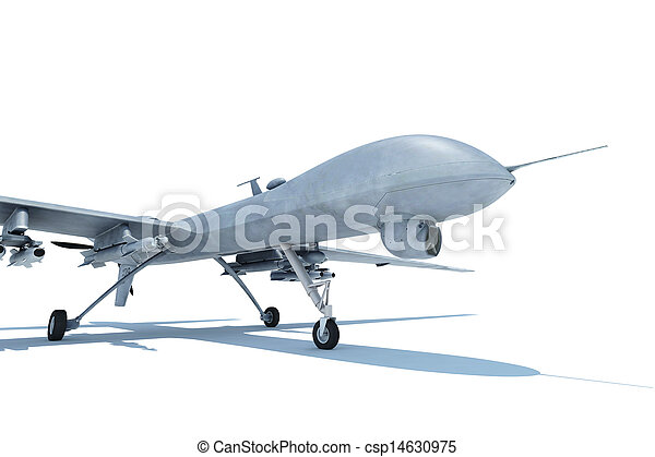 Military combat drone on white ground - csp14630975
