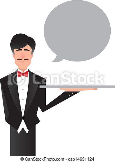 Butler or Servant Vector -  Butler Servant Clipart