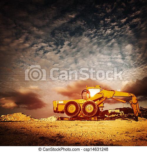 Old excavator on sunset - csp14631248