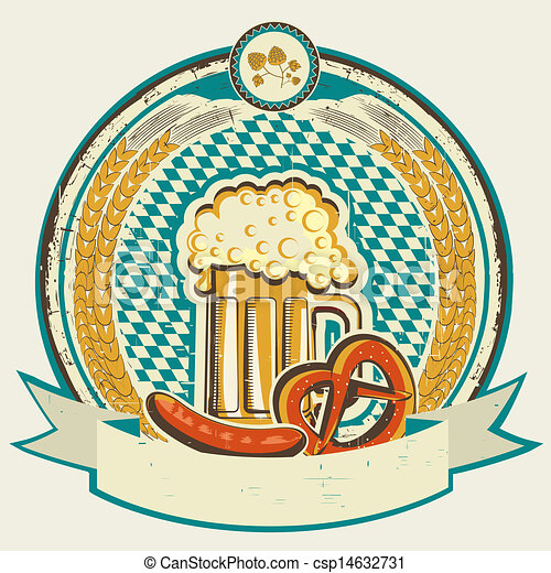 vintage oktoberfest label with beer and food on old background  - csp14632731