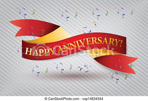Anniversary Banner Vector Vector Happy Anniversary Red
