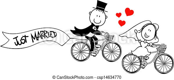 funny bride and groom on bikes - csp14634770