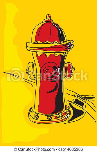 stock illustration - 火, 消防龙头