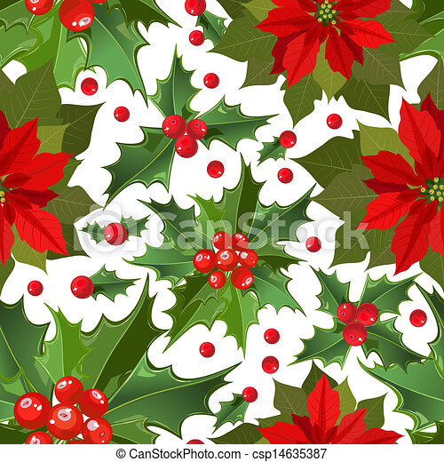 Vectors Illustration of Christmas Flower holly berry csp8026277 ...