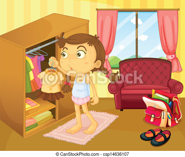 Vector Clipart of A girl changing clothes