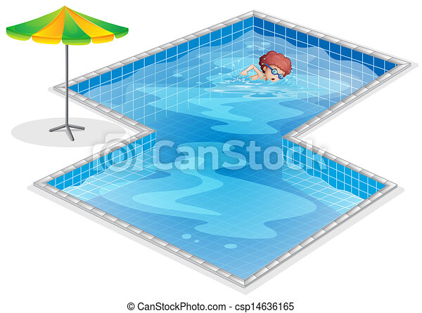 Clip art vector of a boy practicing at the swimming pool for Swimming pool drawing