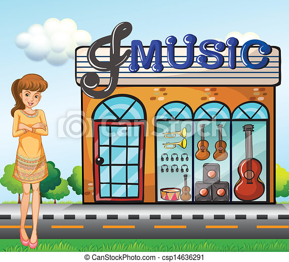 Vector - A girl near the music shop - stock illustration, royalty free ...