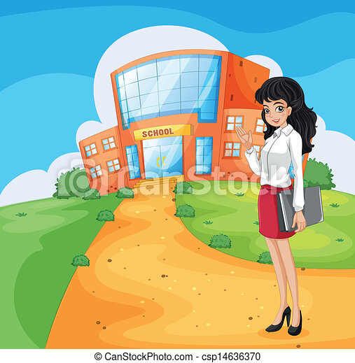 A teacher going to the school - csp14636370