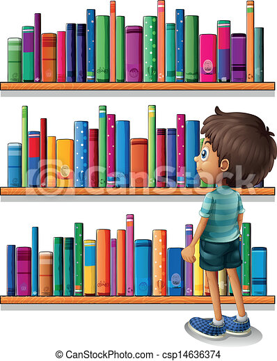Library Bookshelf Clipart A boy in the library in front