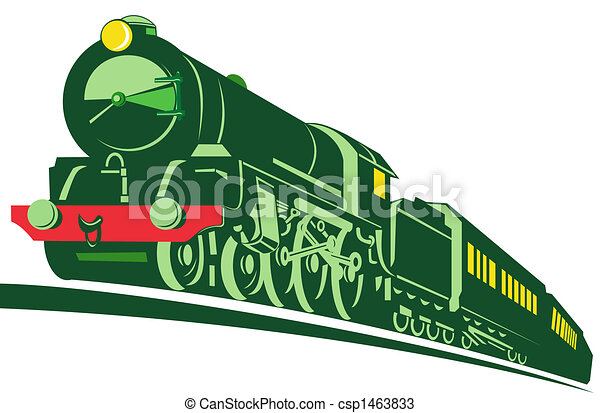 Clip Art of Steam train - Illustration on rail transport isolated ...