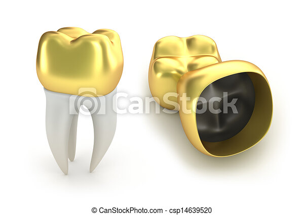 Golden Dental crowns and tooth  - csp14639520