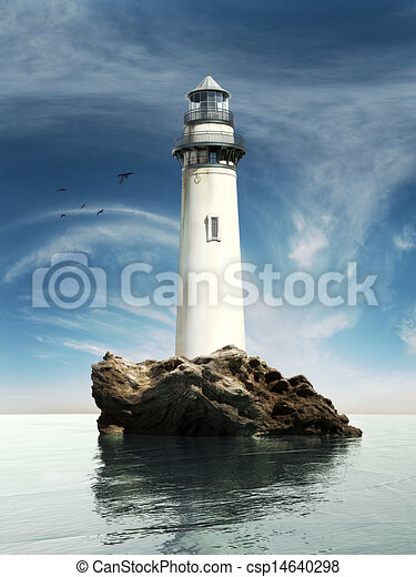 Stock Illustration of Day view of a old lighthouse - Day ...