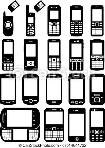 Vectors of Set of cell phones csp14641732 - Search Clip Art ...