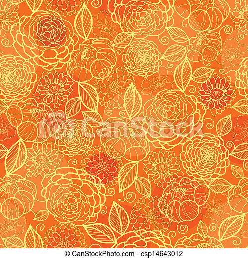 Golden orange floral texture seamless pattern background - csp14643012