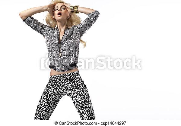 tröttsam, kvinna, glapp, blondin, sensuell, kläder - csp14644297