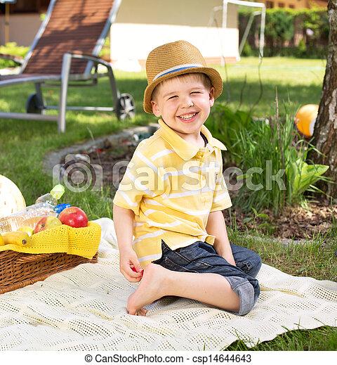 tröttsam, pojke, le, färgrik, kläder - csp14644643