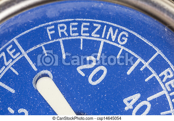 Vintage Refrigerator Thermometer Freezing Zone Detail - csp14645054