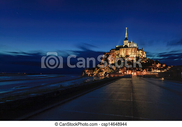 Mont Saint Michel monastery and bay landmark night view. Normandy, France - csp14648944