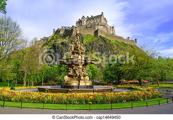 Ross fountain landmark in Edinburgh, Scotland - csp14649450