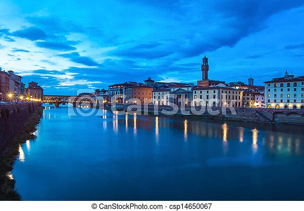 Ponte Vecchio landmark on twilight, old bridge, Arno river in Florence. - csp14650067