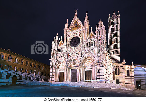 Siena Cathedral landmark as known as Duomo, night photography. Tuscany, Italy, Europe. - csp14650177