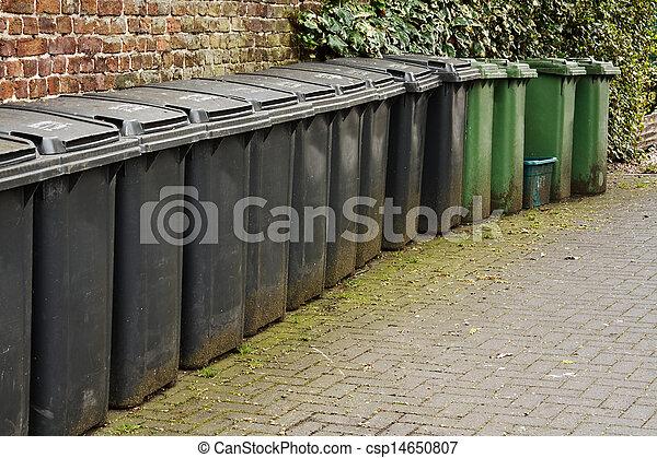 Line of residential wheelie bins - csp14650807