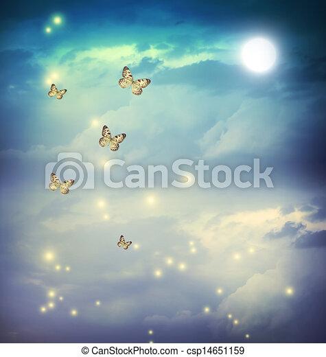 Butterflies in a fantasy moonligt landscape - csp14651159