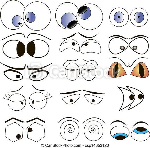 Ilustraciones de Vectores de caricatura, ojos, Conjunto ...