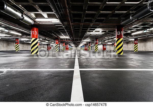 Parking garage underground interior - csp14657478