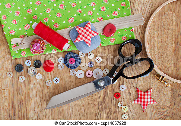 Tailoring Tools On Wooden Table - csp14657928