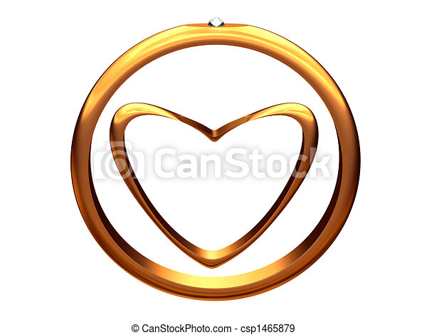 Image of gold heart inside of a gold wedding ring. - csp1465879