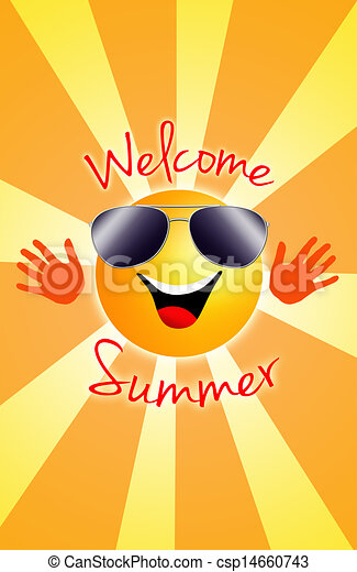 Drawing of Welcome summer! - a sun in summer csp14660743 ...