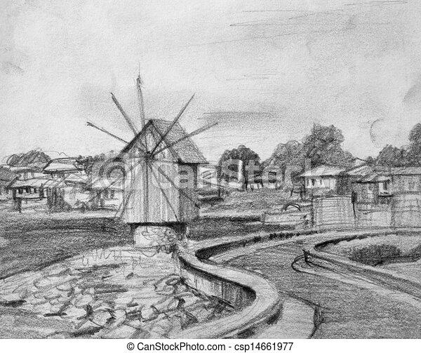 Stock Illustrations of Pencil Drawing of Nesebar Old Windmill - Black ...