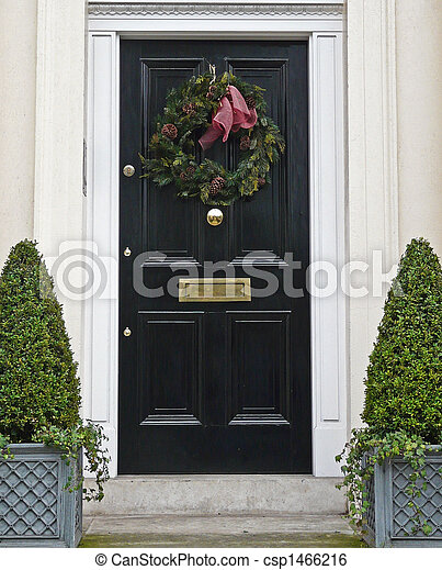 Christmas Front Door Clipart stock image of front door with christmas wreath - shiny black