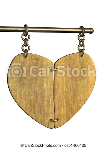 3d wooden signboard in the form of heart - csp1466485