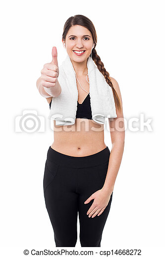 Fitness lady showing success gesture - csp14668272