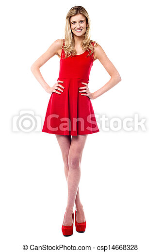 Pretty teen in fashionable outfit - csp14668328