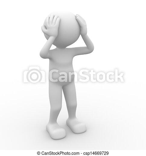 Clip Art of Pain - 3d people - man, person - pain, worried. Sad ...