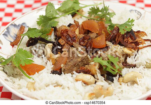 Lamb biryani serving bowl