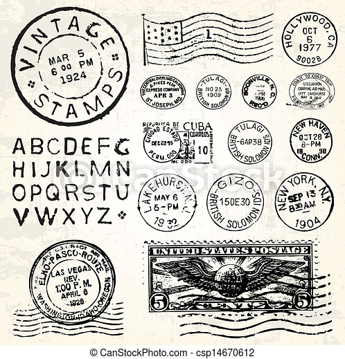 Vector Retro Postage Set - csp14670612