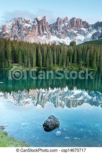 Karersee, lake in the Dolomites in South Tyrol, Italy. - csp14670717