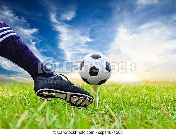 foot kicking soccer ball on golf tee - csp14671503